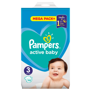 Pampers Active Baby Midi S3 pleny 152ks